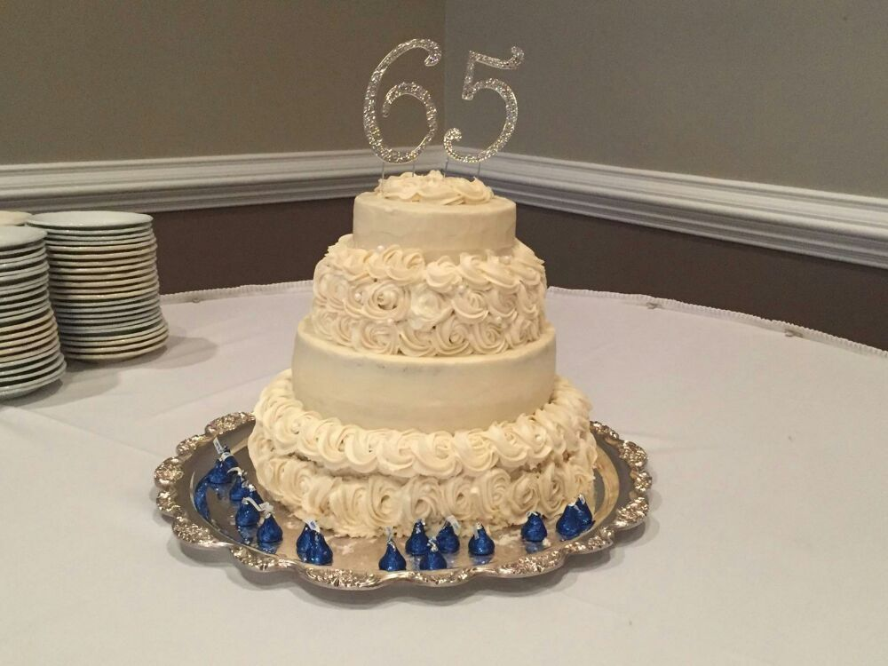 65th wedding anniversary cake. Almond layers with strawberry jam and ...