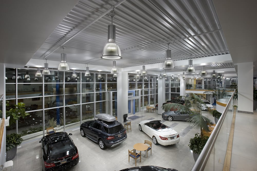 New car showroom street level at night looking down for Mercedes benz of encino