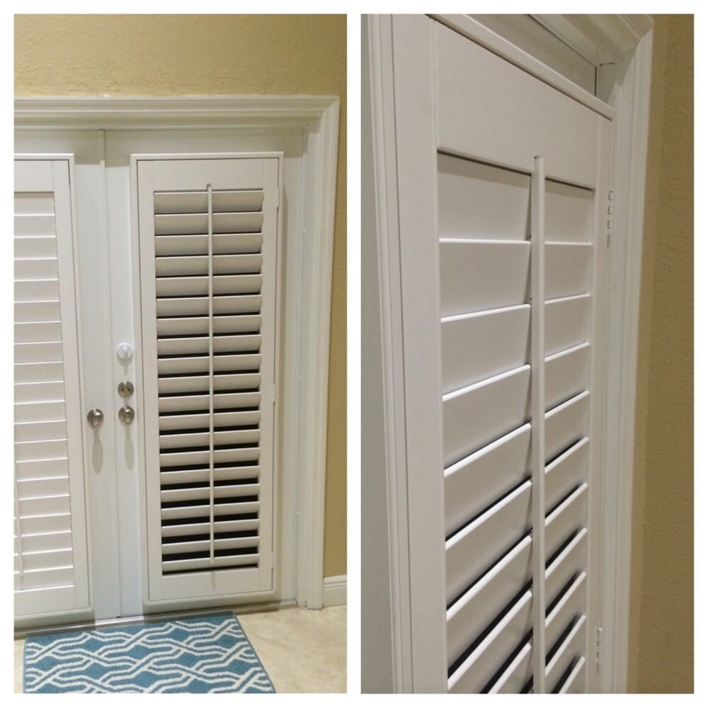 White PolyWood Plantation Shutters On French Doors Yelp
