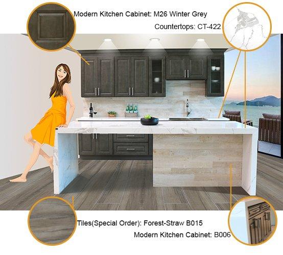 Modern Kitchen Cabinet:M26 (& B006) Waterfall Countertop