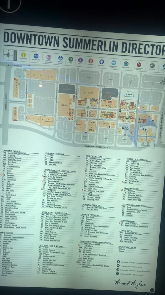 Downtown Summerlin Map Mall directory   Yelp