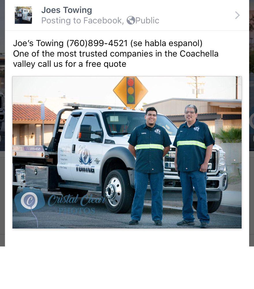 Joe's Towing: 52233 Cesar Chavez St, COACHELLA, CA