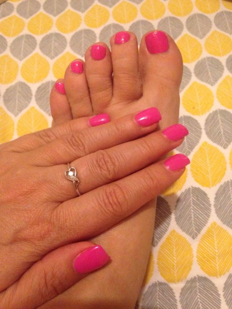 Gel polish over UV gel nails and matching regular polish on toes. - Yelp