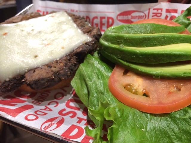 Avocado Ranch Black Bean burger with fresh avocado, pepper jack cheese ...