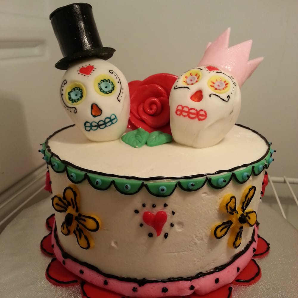 Day of the dead themed wedding anniversary cake.Marble cake ...