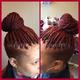 Mid back length box braids with shaved sides Yelp
