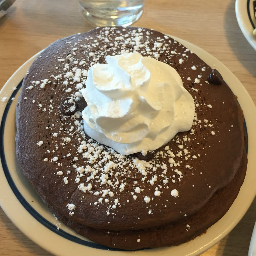 Two Chocolate Chocolate Chip Pancakes With Whipped Cream