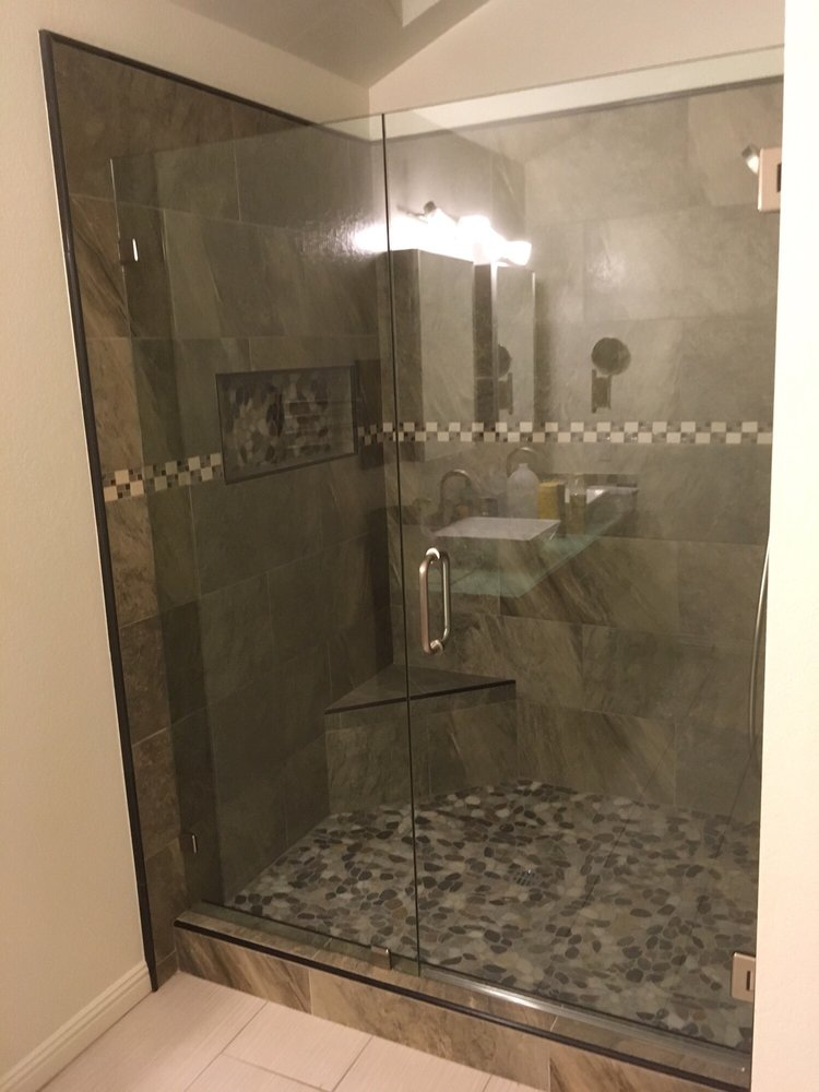 Customer Tile In Shower And New Glass Door Install Yelp