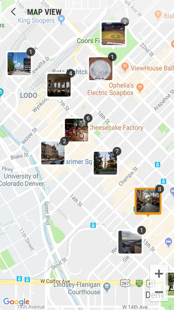 My personalized picture map of downtown Denver. - Yelp on