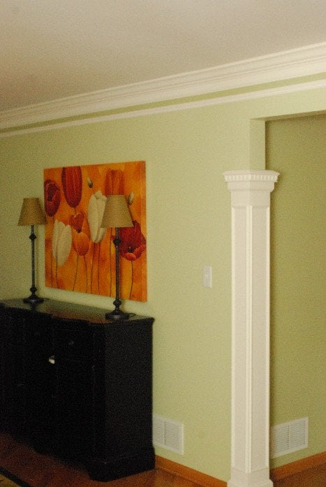 Living Room Custom Woodworking Columns And 3 Piece Crown