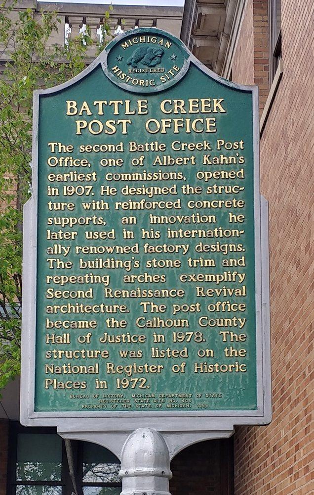 Battle Creek Post Office Historical Marker: 67 E Michigan Ave, Battle Creek, MI