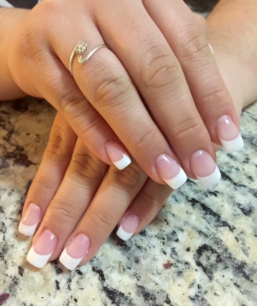 Full set, free-form gel, french tip nails by Alex. - Yelp