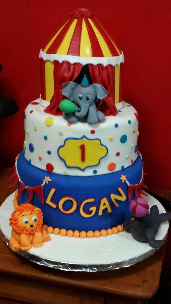3 Tier Circus Theme 1st Birthday Cake For Logan All Hand Made Yelp