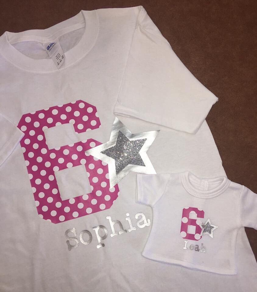 Matching human and american girl doll shirts in custom for T shirt printing brandon fl