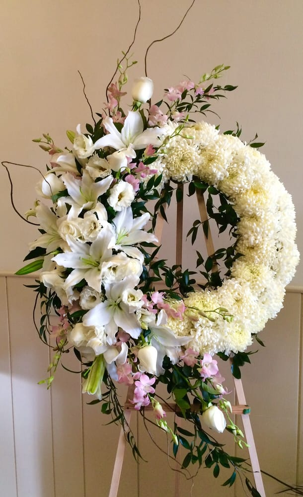 Kelly Services Near Me >> Funeral wreath. Pink orchids, white lilies, lisianthus, & roses. With China mums! So pretty ...