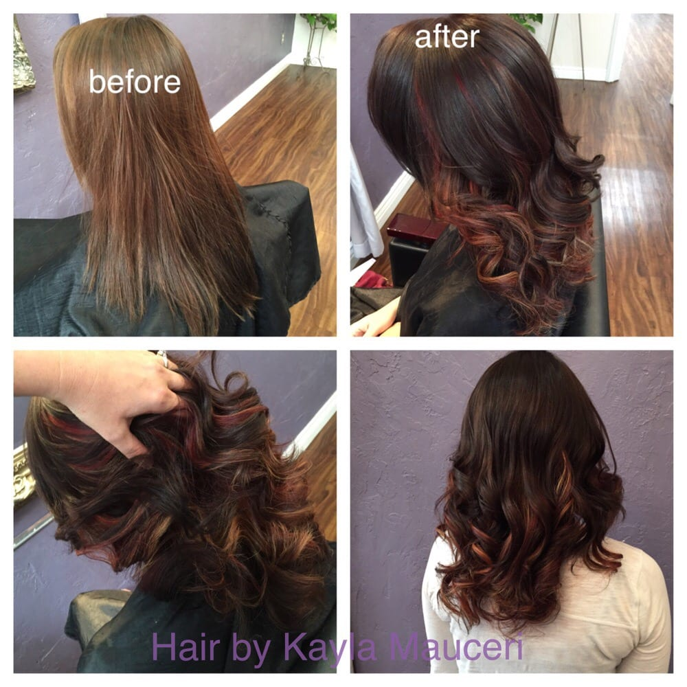 Fall Mocha Brown With Red Violet And Blonde Highlights Underneath