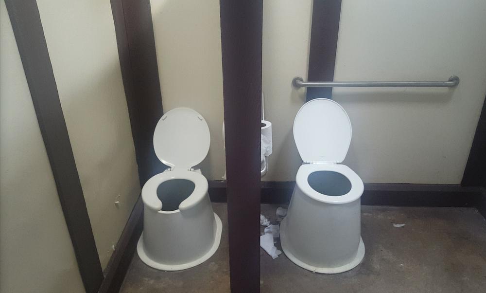 No doors in bathroom stalls toilet paper is hit or miss - Bathroom partition installers near me ...