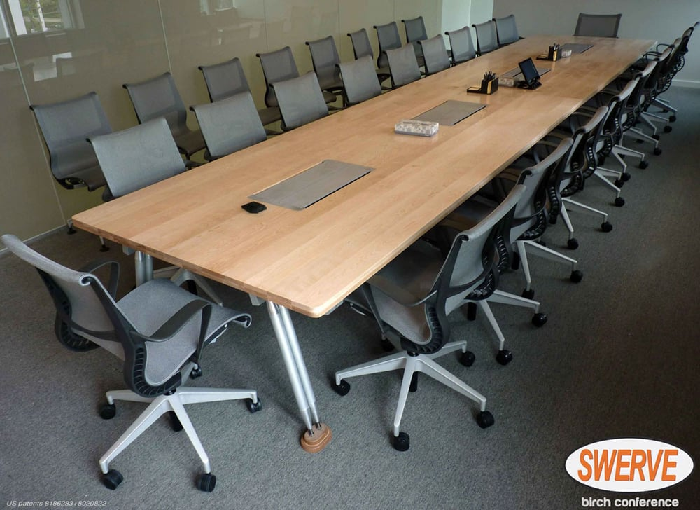 Person Conference Table Of Solid Bleached Birch Integrated Power - Conference table with power and data