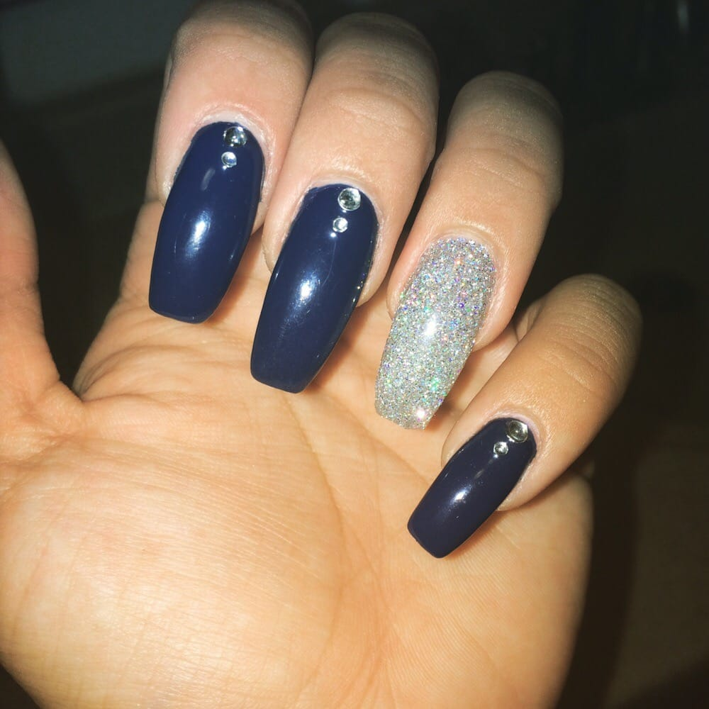 Coffin nails with rhinestones and glitter powder full set with gel ...