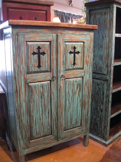 Turquoise large cross cabinet yelp for Rustic home albuquerque