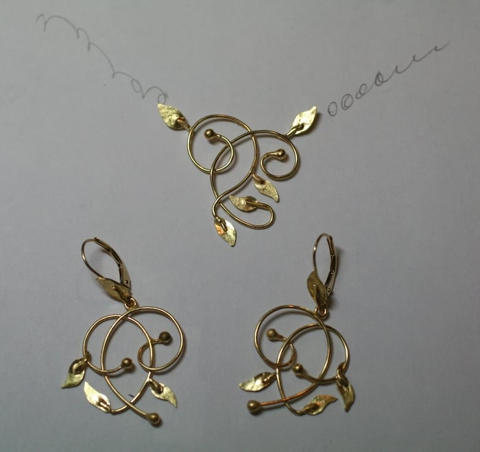 leaf pattern necklace and earrings in gold yelp