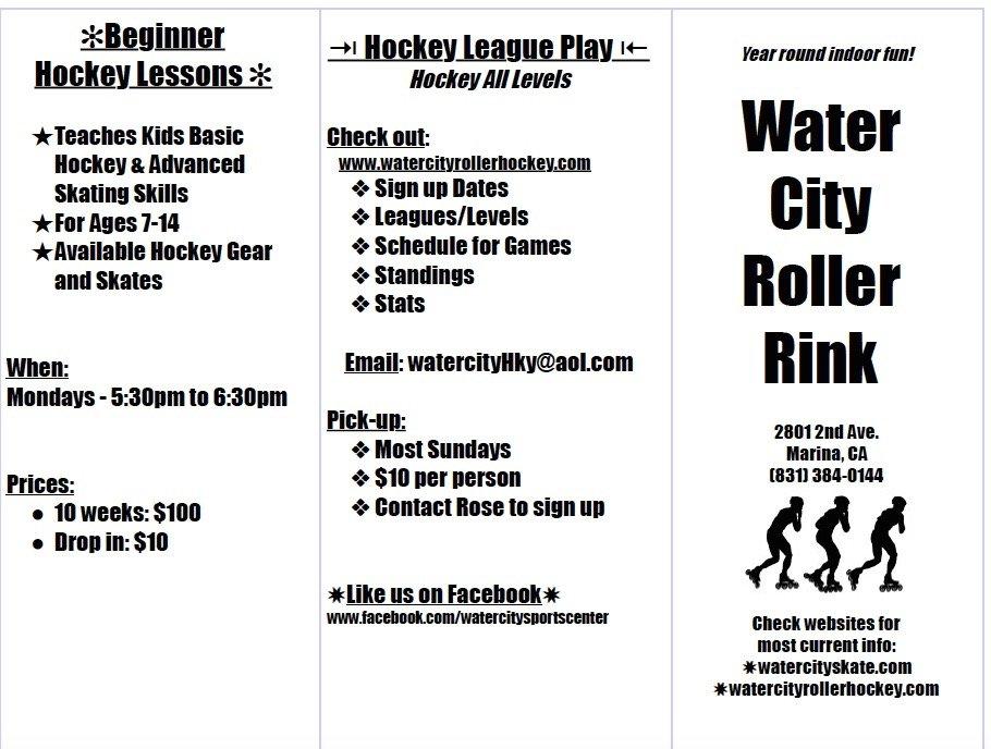 Brochure With Contact Info Hockey Leagues Beginner Hockey