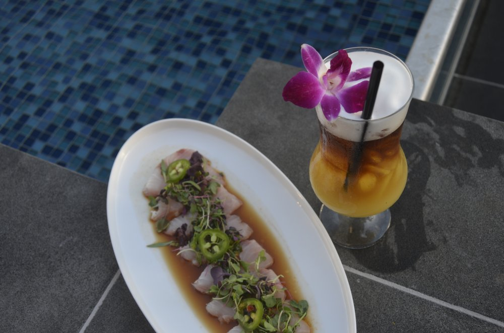 The Lanai Tai with our Kona Kampachi Sashimi - Yelp